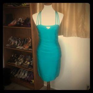 Bebe Turquoise Bandage Dress